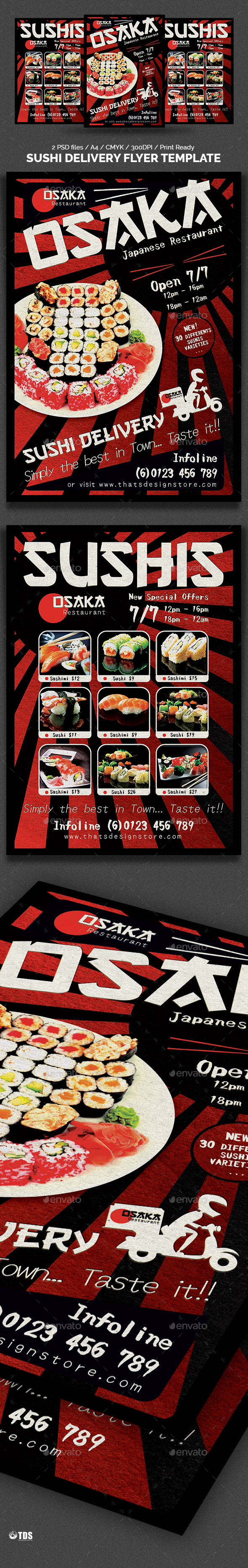Sushi Delivery Flyer Template (2 sides) - Restaurant Flyers