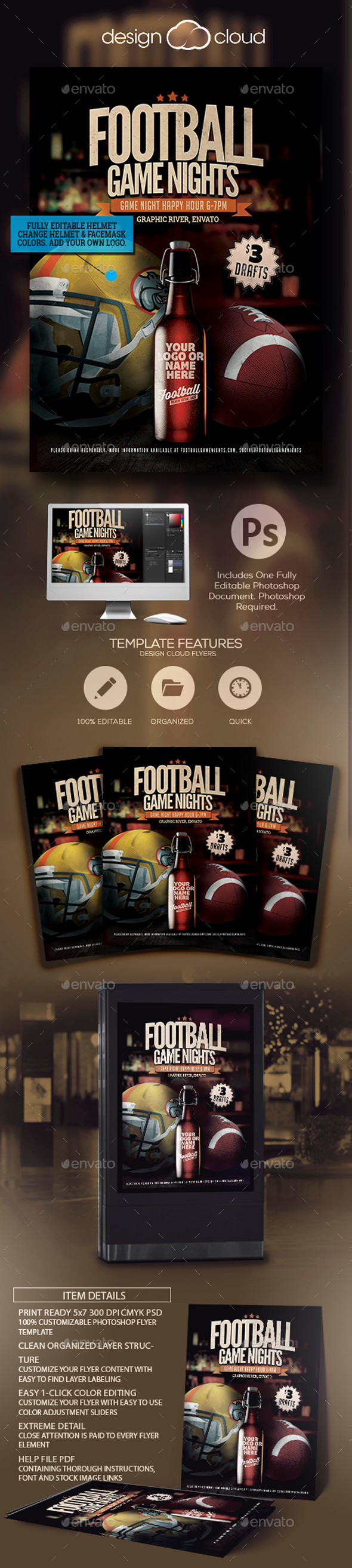 Football Game Night Promo Flyer - Sports Events