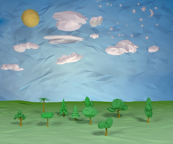 Trees clouds sun moon stars pack  - 3DOcean Item for Sale