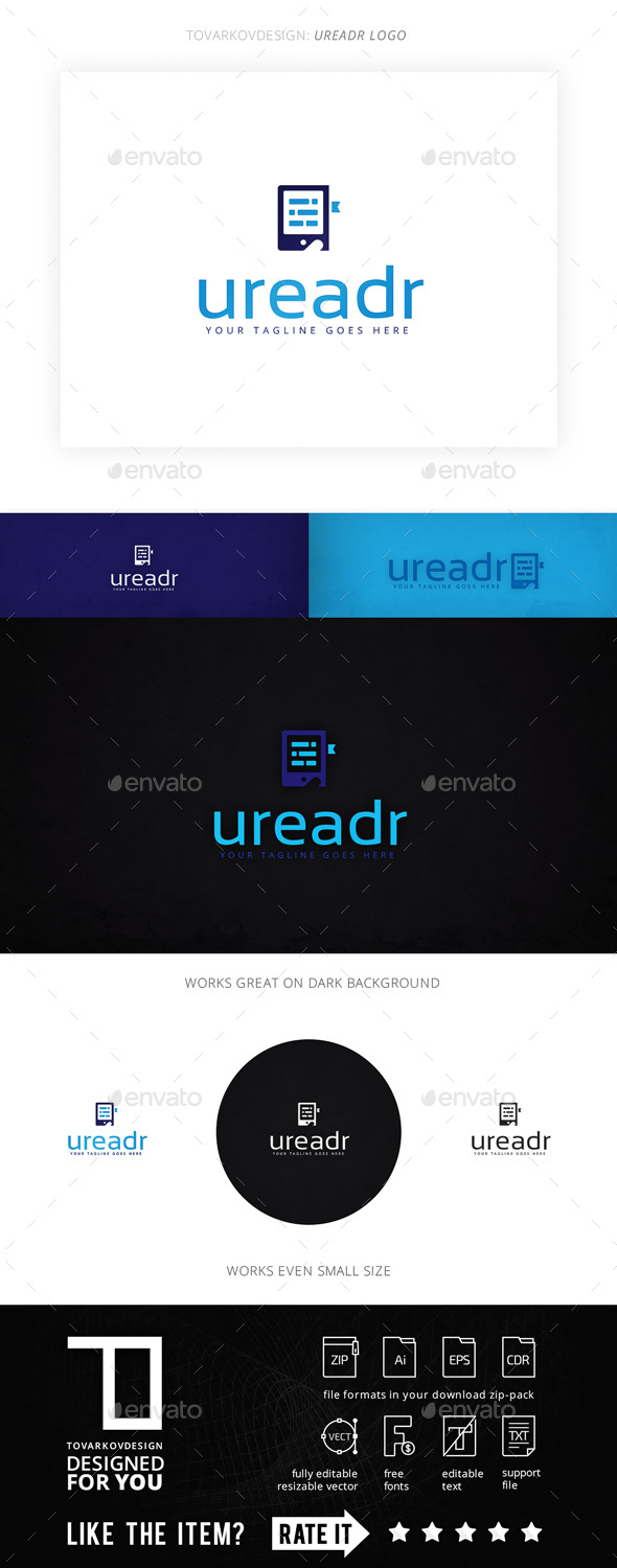Ureadr E-book Logo Template - Objects Logo Templates