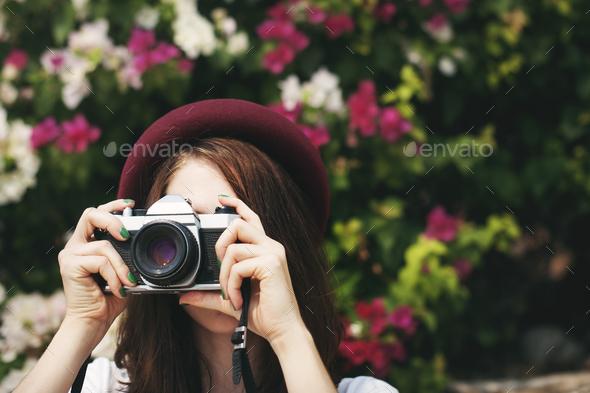 Traveler Photograph Camera Tourist Girl Lady Concept - Stock Photo - Images