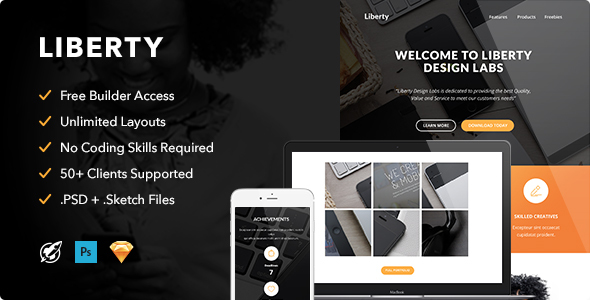 Liberty - Responsive Email + Themebuilder Access - Email Templates Marketing
