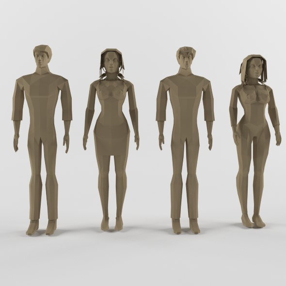 Human male and female - 3DOcean Item for Sale