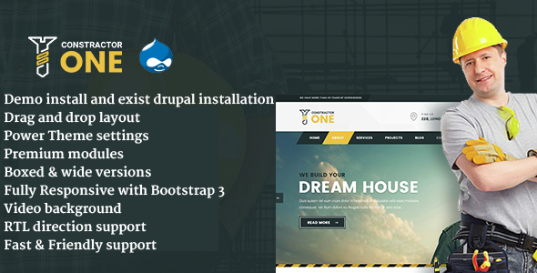 Constractor One - Construction & Home Renovation Drupal 8 Template