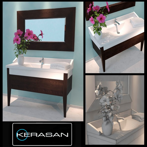 Washbasin Kerasan Bentley with flower - 3DOcean Item for Sale