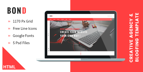 Bond - Creative Agency & Blogging HTML Template - Creative Site Templates