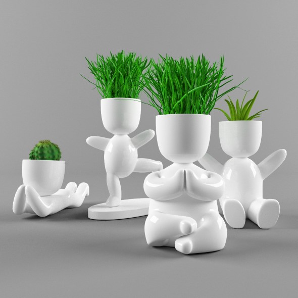 Plants in decorative pots - 3DOcean Item for Sale