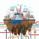Industrial Landscape Illustration In Flat Style - GraphicRiver Item for Sale