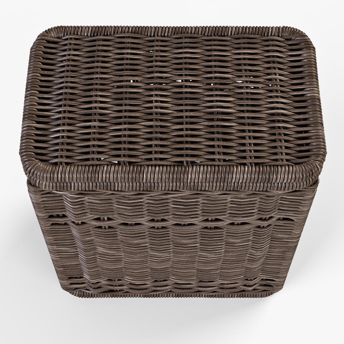 Wicker Laundry Hamper 08 Brown Color By Markelos 3docean