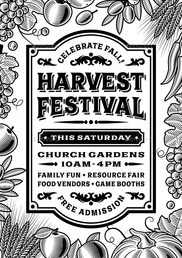 vintage harvest festival poster black and white by iatsun graphicriver. Black Bedroom Furniture Sets. Home Design Ideas