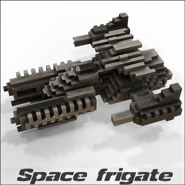 Space frigate (voxel model) - 3DOcean Item for Sale