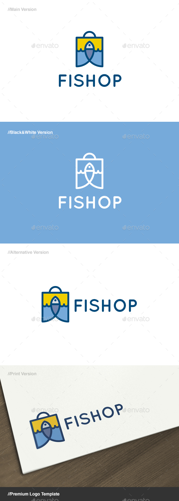 Fishop - Fish & Bag Logo - Animals Logo Templates