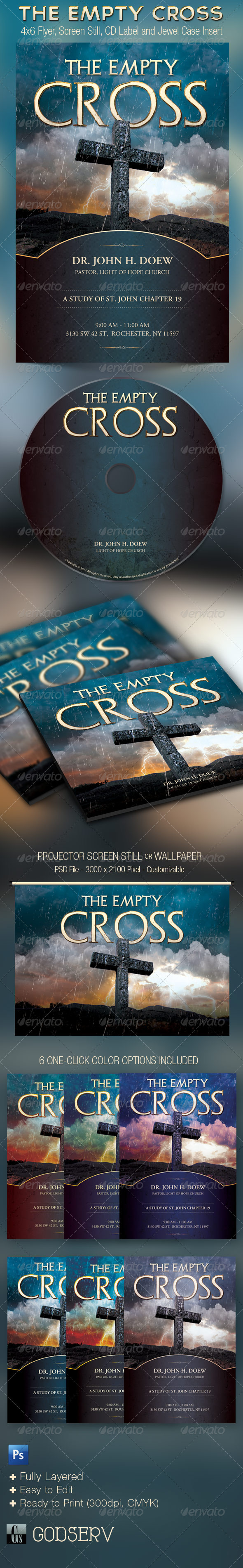 Empty Cross Church Flyer Slide CD Template - Church Flyers