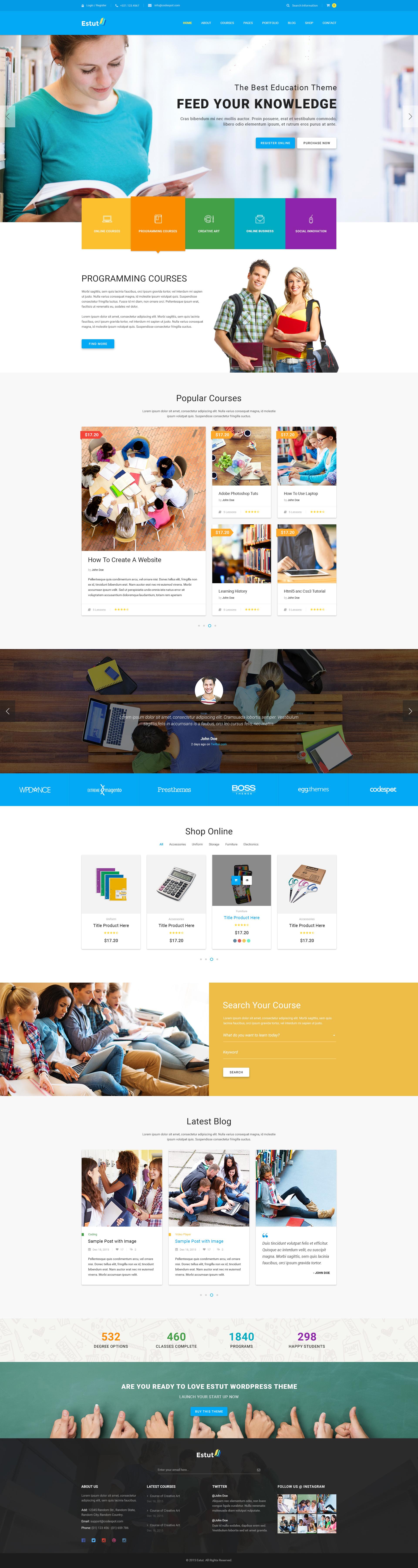 Estut   Education WordPress Theme - Material Design - Online Course ...