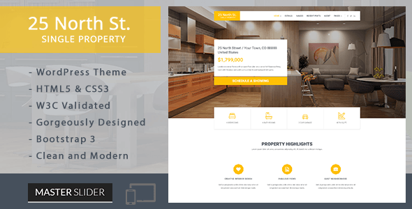 25 North – Single Property Real Estate WordPress Theme