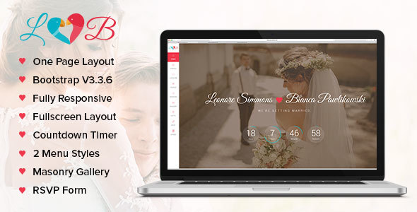 Lovebirds – Responsive Wedding HTML Template