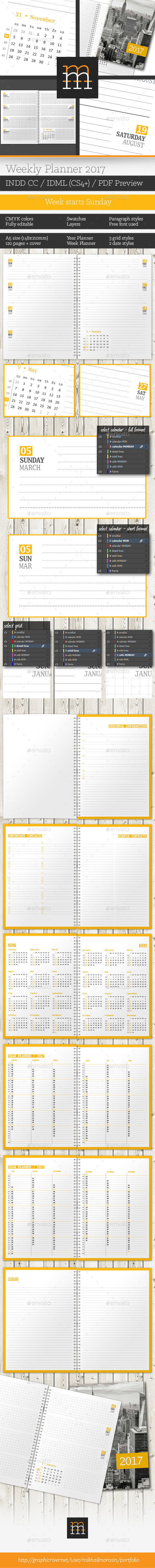 Weekly Planner 2017 - Calendars Stationery