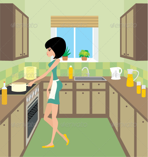 Young woman on kitchen - Characters Vectors
