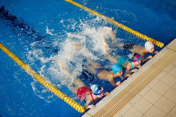 Learning to swim - Stock Photo - Images