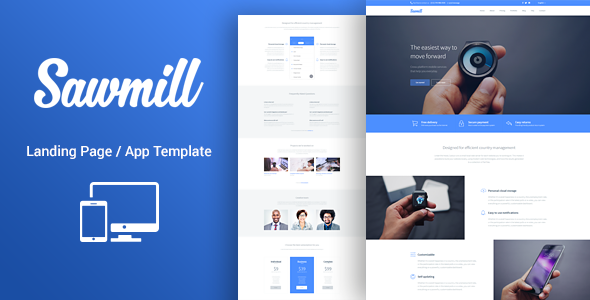 Responsive WordPress Landing Page Theme - Sawmill - Software Technology