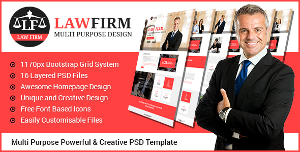 Law Firm - Multi Purpose PSD Template - Business Corporate