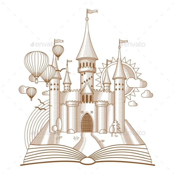 Fairy Castle Appearing From Open Book - Buildings Objects