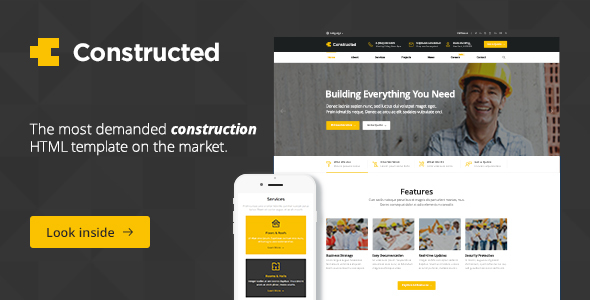 Constructed - Construction, Building, Factory HTML Template