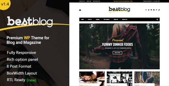 BestBlog - Responsive WordPress Blog Theme - Blog / Magazine WordPress