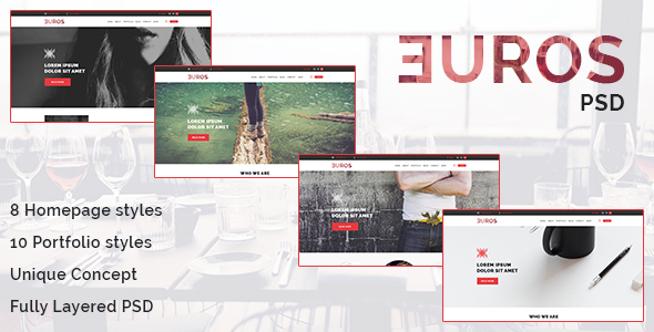 Euros - Multipurpose PSD Template - Corporate PSD Templates