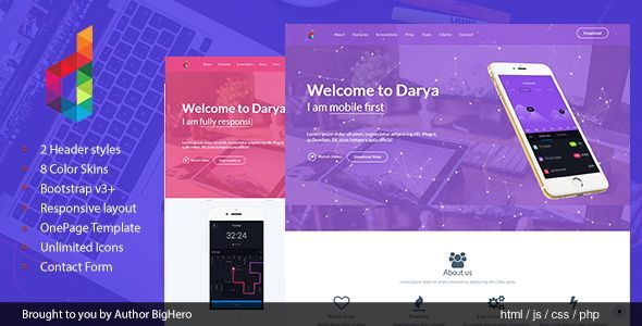Darya - Responsive HTML5 App Landing Template - Software Technology