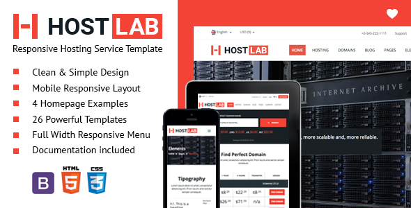 HostLab – Responsive Hosting Service Template