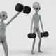 Alien Doing Front Dumbbell Raise Exercise 2 - VideoHive Item for Sale