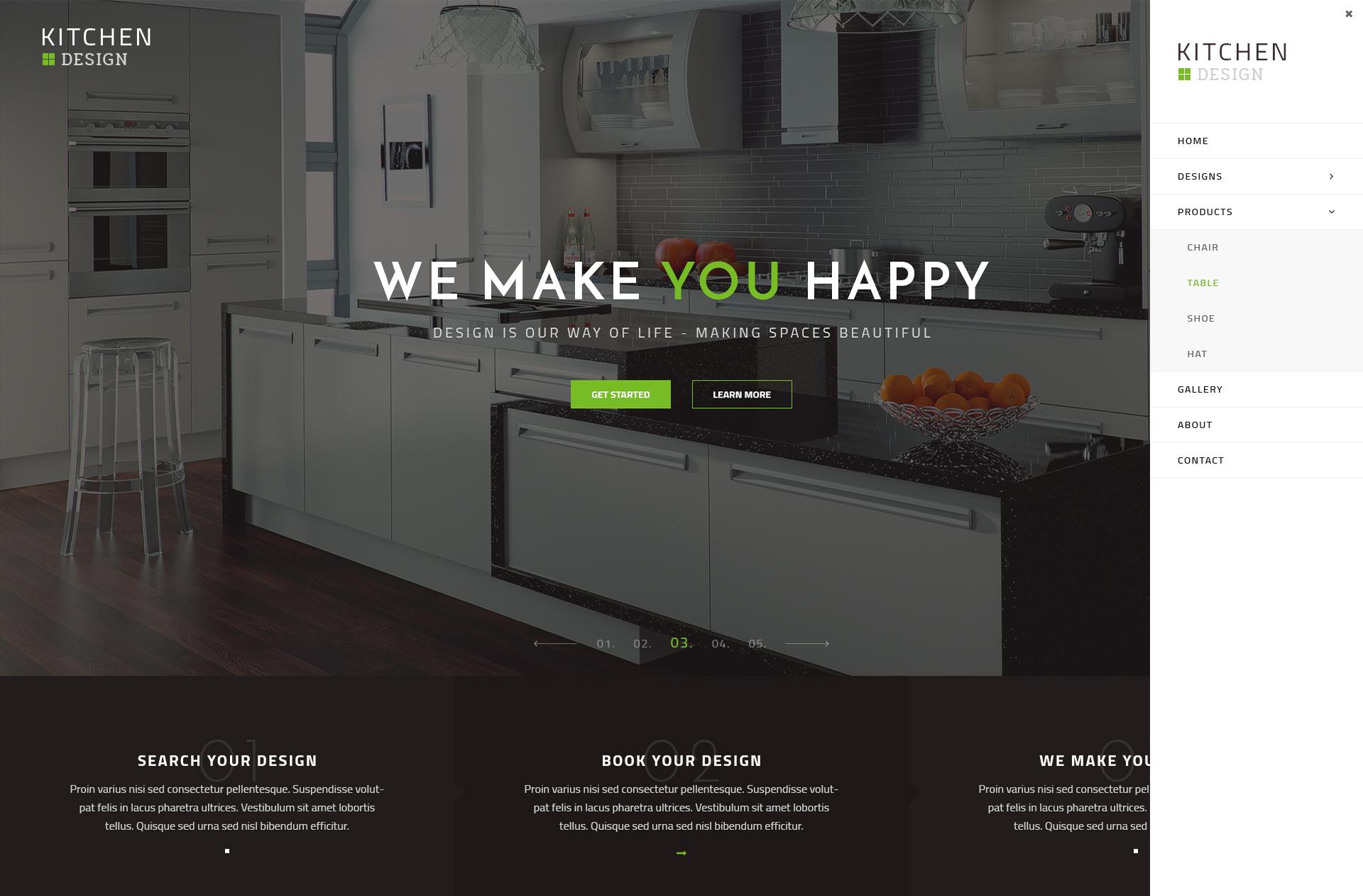 kitchen design grid template. Kitchen  PSD Template by qtcmedia ThemeForest