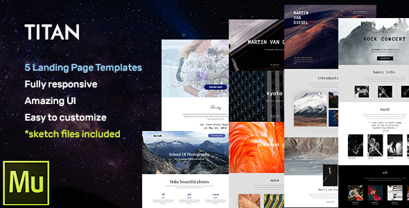 Titan – Responsive Landing Page Muse Templates + Widgets