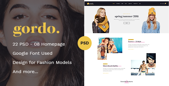 Gordo Fashion Ecommerce PSD Template - Fashion Retail