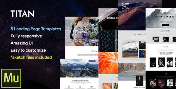 Titan – Responsive Muse Templates for Landing Page + Gallery Widgets