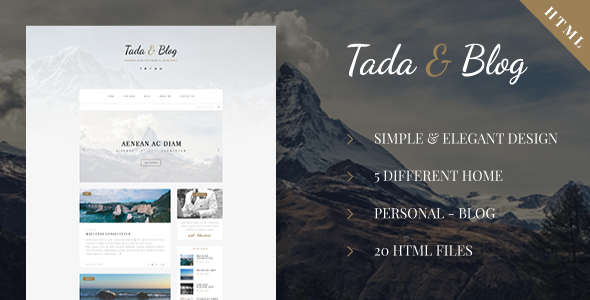 Tada & Blog - Personal Blog HTML Theme - Personal Site Templates