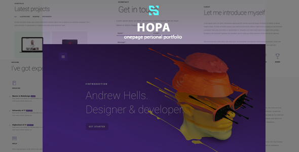 Hopa – Onepage Personal Portfolio