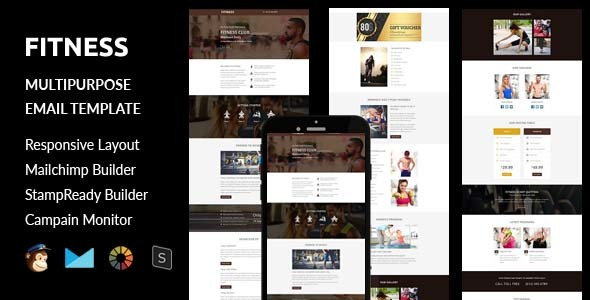 Fitness – Multipurpose Responsive Email Template + Stampready Online Builder Access