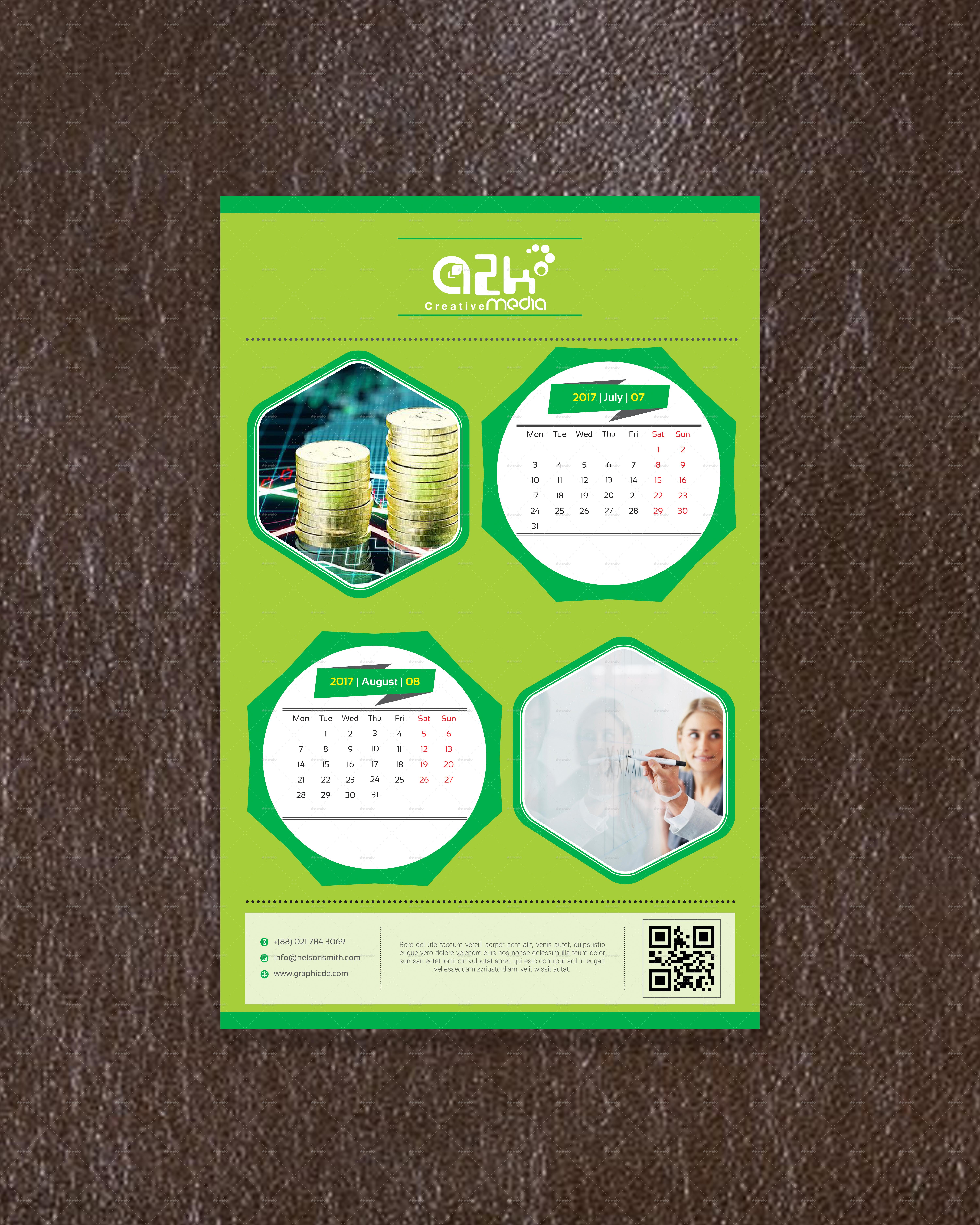 Wall Calendar Design Template V1 by Graphicssolution | GraphicRiver