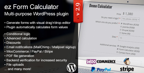 Ez Form Calculator - Wordpress Plugin By Keksdieb | Codecanyon