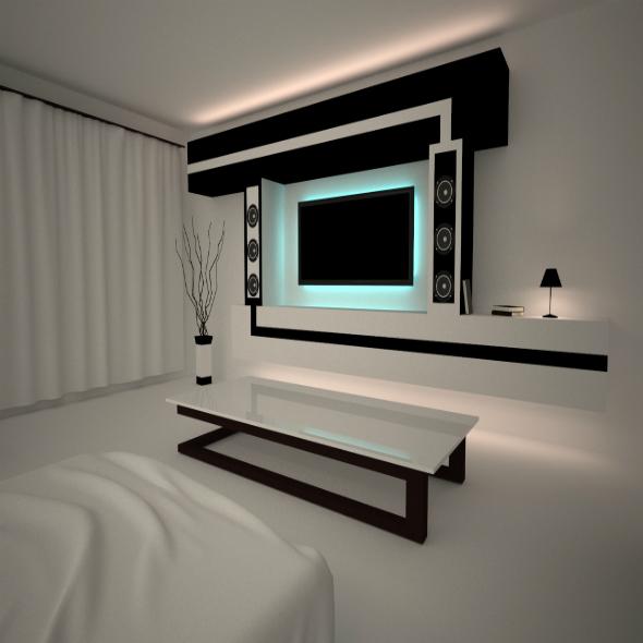 Minimalizm interior night room - 3DOcean Item for Sale