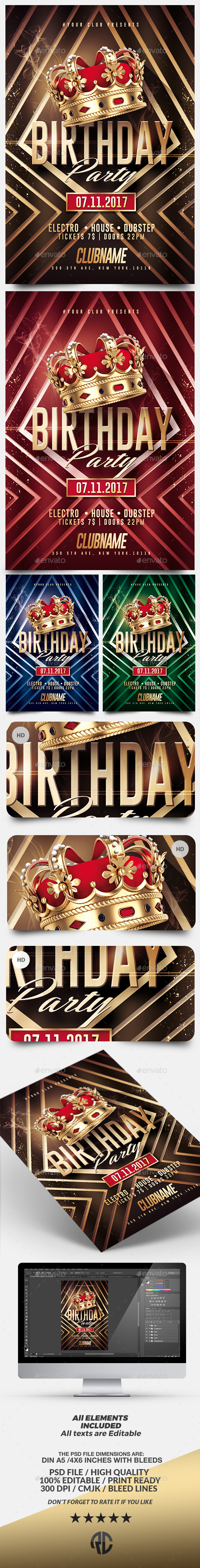 Gold Birthday | Kings Flyer Template - Clubs & Parties Events