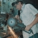 Senior Man Working With Angle Grinder - VideoHive Item for Sale