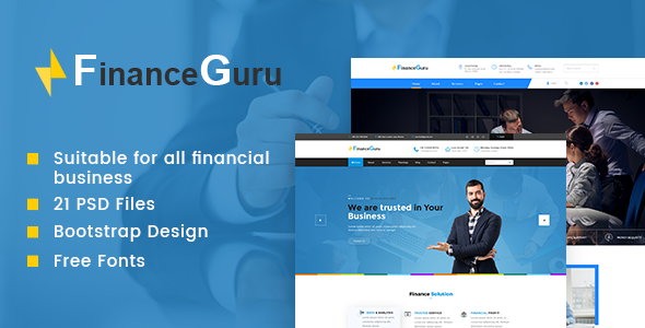 Finance Guru | Finance PSD Theme - Corporate PSD Templates