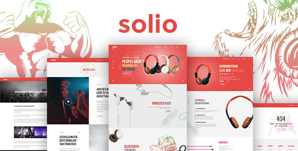 SOLIO – Music Brand Headset PSD Template