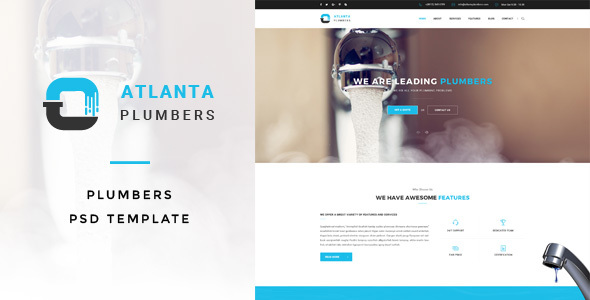 Atlanta : Plumbers PSD Template - Business Corporate