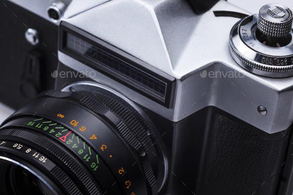 Closeup of old retro film camera lens - Stock Photo - Images