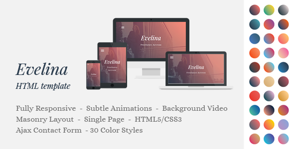 Evelina – Responsive One Page HTML Template for Actor / Model Portfolio