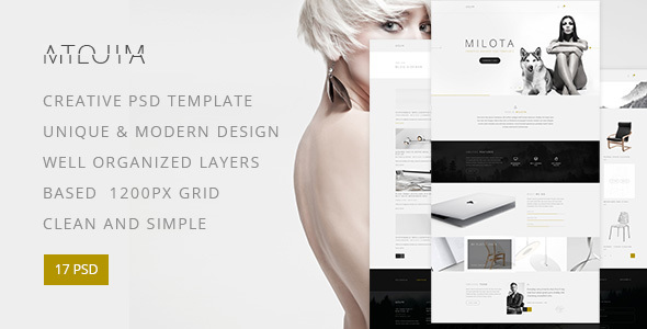Milota — Modern Studio, Personal Portfolio and Blog PSD Template